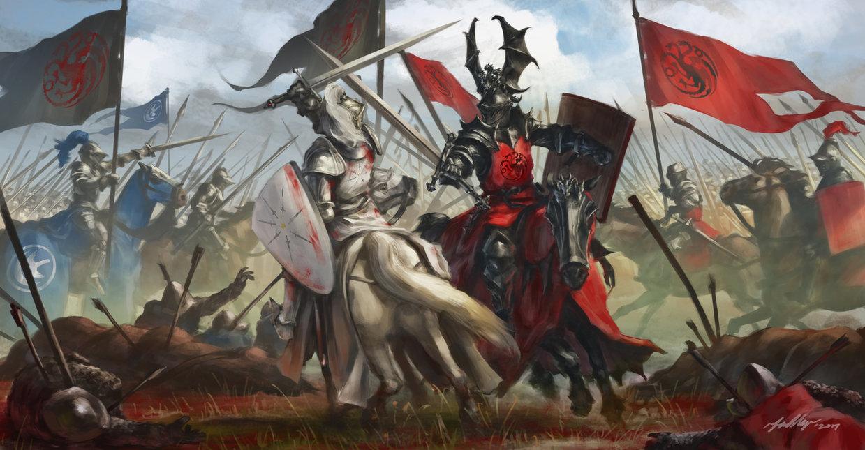 Armored men fighting on horseback